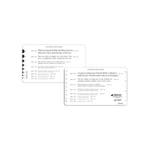 English and Spanish Continuous Text Reading Card